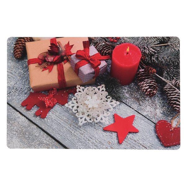 Napperons de plastique rectangulaires IH Casa Decor, motif de cadeaux et d'ornements, ens. de 12
