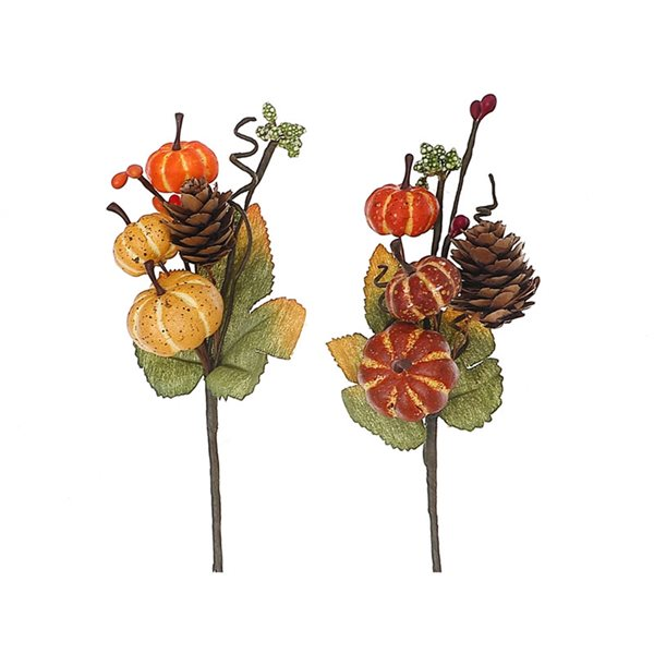 Arrangement décoratif de 3 citrouilles d'IH Casa Decor, paquet de 6
