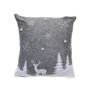 Coussin en polyester gris d'IH Casa Decor, scène hivernale, ens. de 2