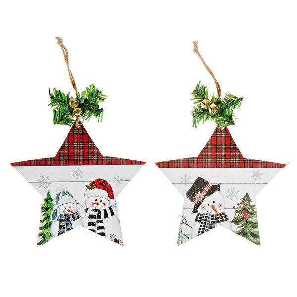 Ornements de Noël IH Casa Decor en forme d'étoile en bois à carreaux avec bonhommes de neige, paquet de 6