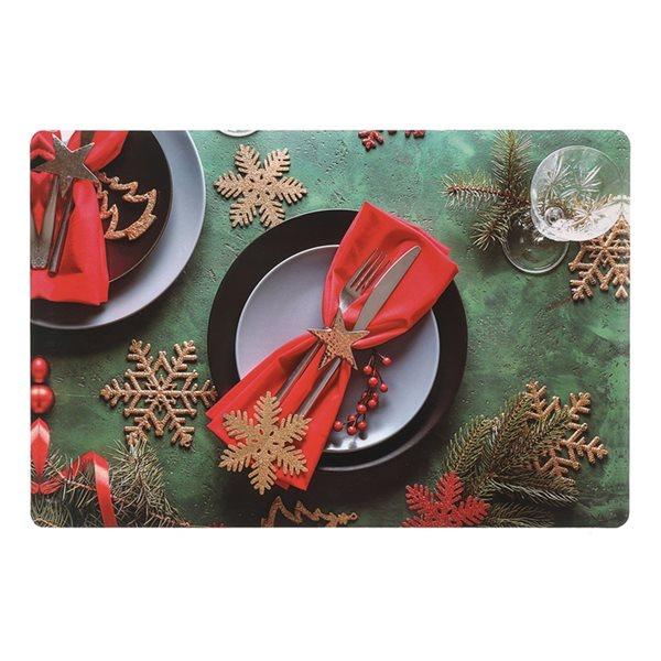 Napperons de plastique rectangulaires IH Casa Decor, avec thème de dîner de Noël, ens. de 12