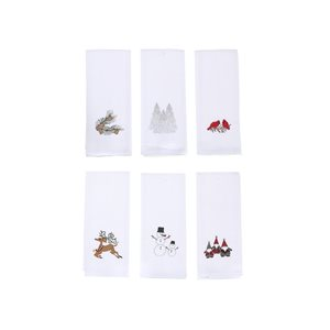 IH Casa Decor Assorted Embroidered White Waffle Kitchen Towels - Set of 6
