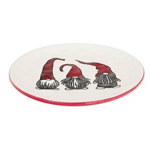 Assiettes rondes en céramique blanche et rouge d'IH Casa Decor avec illustration de gnomes, ens. de 4