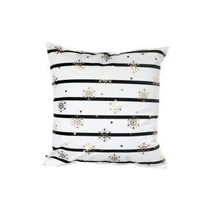 Coussin blanc ligné noir d'IH Casa Decor, flocons de neige dorés, ens. de 2