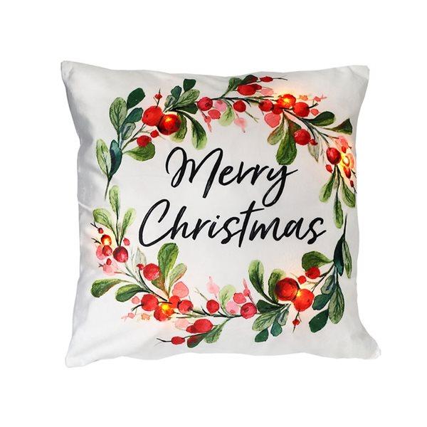 Coussin à DEL en velours d'IH Casa Decor, Merry Christmas, ens. de 2