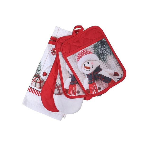 Ensemble d'accessoires de cuisine d'IH Casa Decor, imprimé bonhomme de neige, 5 morceaux