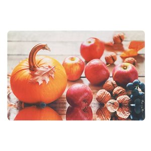 IH Casa Decor Plastic Rectangle Placemats with Pumpkins and Apples - 12-Pack