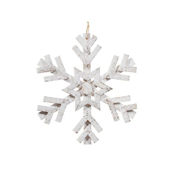 Ornement de Noël en bois IH Casa Decor en forme de flocon de neige blanc