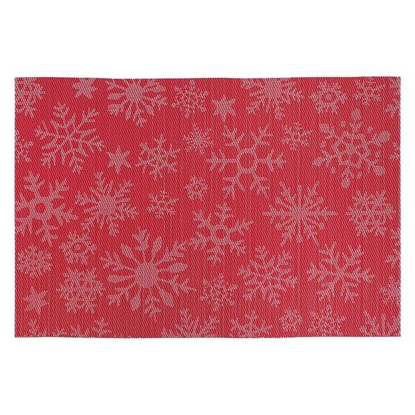 Napperons en vinyle rectangulaires IH Casa Decor, motif de flocons de neige rouges, ens. de 12