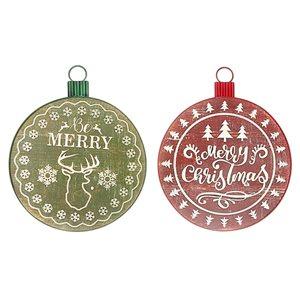 Ornement de Noël rond de 13,4 po par IH Casa Decor, ens. de 2