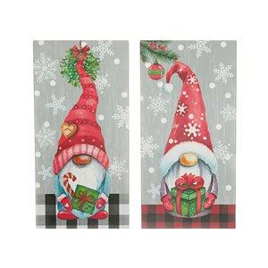 Décoration murale de Noël de 15,75 po par IH Casa Decor, gnome avec des cadeaux