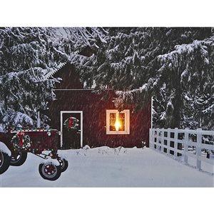 Décoration murale de Noël de 12 po avec lumière DEL par IH Casa Decor, camion rouge