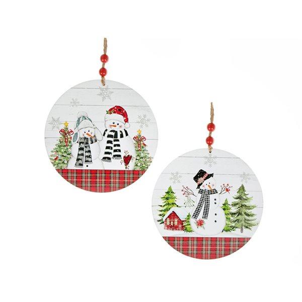 Ornements de Noël en bois IH Casa Decor ronds à carreaux avec bonhommes de neige, paquet de 2