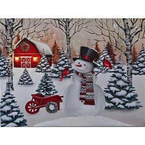 Décoration murale de Noël de 12 po avec lumière DEL par IH Casa Decor, grange rouge