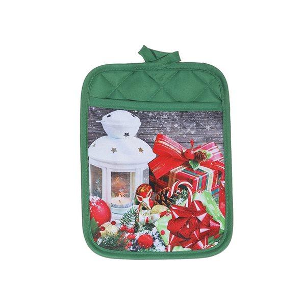 Sous-plats avec pochette d'IH Casa Decor, imprimé festif de Noël, ens. de 4