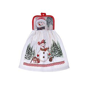 Serviettes pour les mains d'IH Casa Decor, imprimé bonhomme de neige, ens. de 2