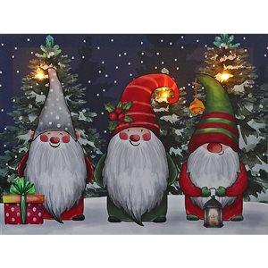 Décoration murale de Noël de 12 po avec lumière DEL par IH Casa Decor, 3 gnomes de Noël
