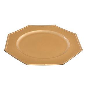 Assiettes décoratrices octogonales dorées de 13 po d'IH Casa Decor, ens. de 6