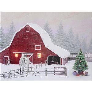 Décoration murale de Noël de 12 po avec lumière DEL par IH Casa Decor, grange enneigée