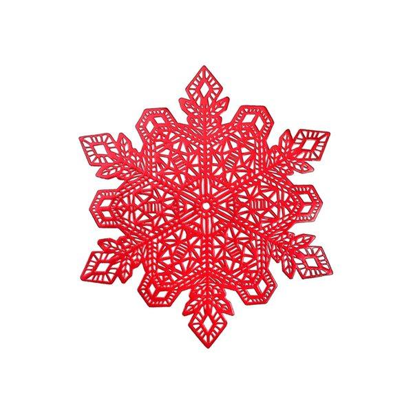 Napperons découpés en PVC IH Casa Decor, flocons de neige rouges, ens. de 12