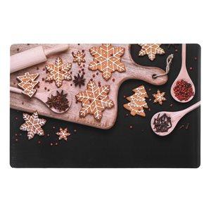 Napperons de plastique rectangulaires IH Casa Decor, motif de biscuits de Noël, ens. de 12