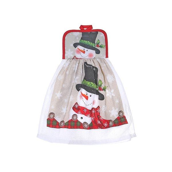 Serviettes pour les mains d'IH Casa Decor, imprimé bonhomme de neige avec chapeau haut de forme, ens. de 2
