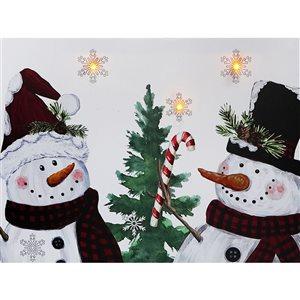 Décoration murale de Noël de 12 po avec lumière DEL par IH Casa Decor, deux bonhommes de neige