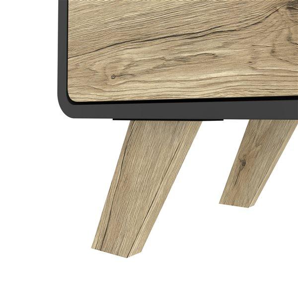 Table d'appoint rectangulaire Alhena par Bestar en composite noir et brun pâle