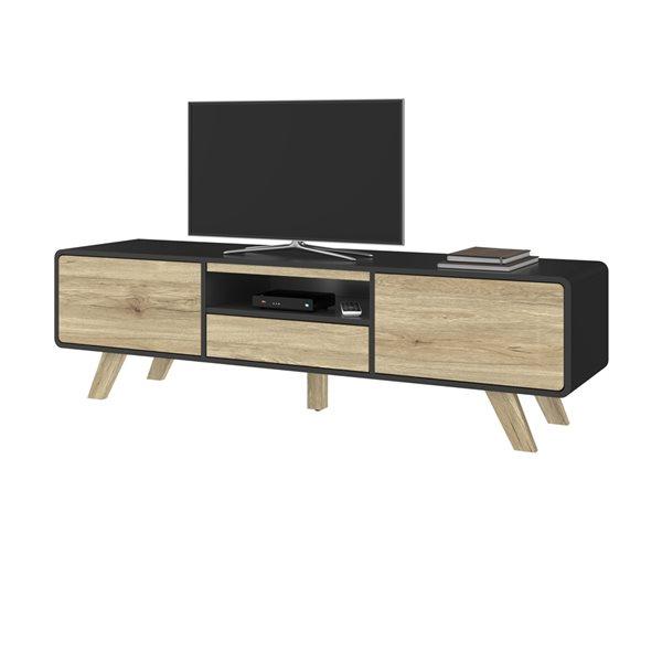 Bestar Alhena Black and Light Brown TV Stand
