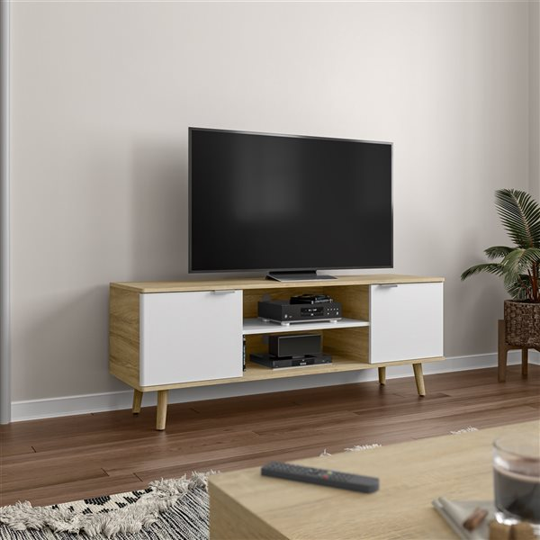 Meuble télé Procyon par Bestar brun et blanc