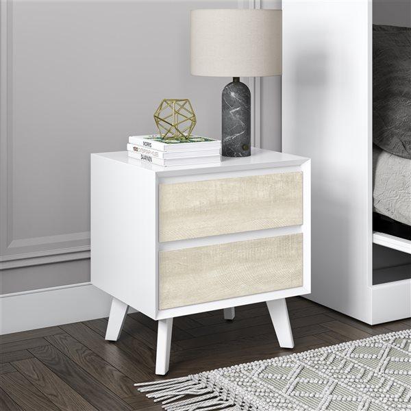 Bestar Adara White and Ash Grey Composite Rectangular End Table
