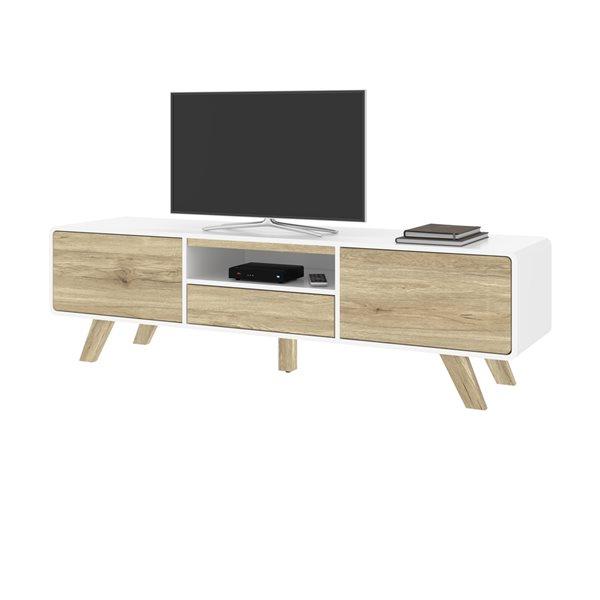 Meuble télé Alhena par Bestar blanc et brun pâle