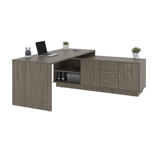 Bestar Equinox 71.1-in Grey Modern/Contemporary L-Shaped Desk