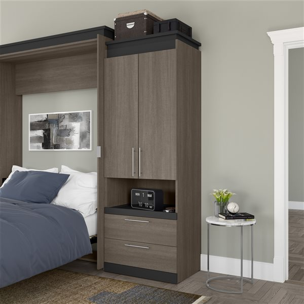Bestar Orion 30-in Bark Grey and Graphite Armoire with Pull-out Shelf