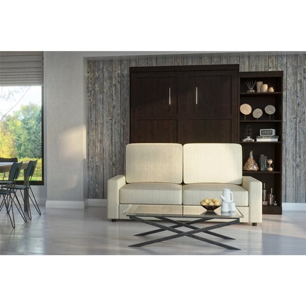 Bestar Pur 96-in Chocolate Queen Murphy Bed Integrated Storage with Sofa