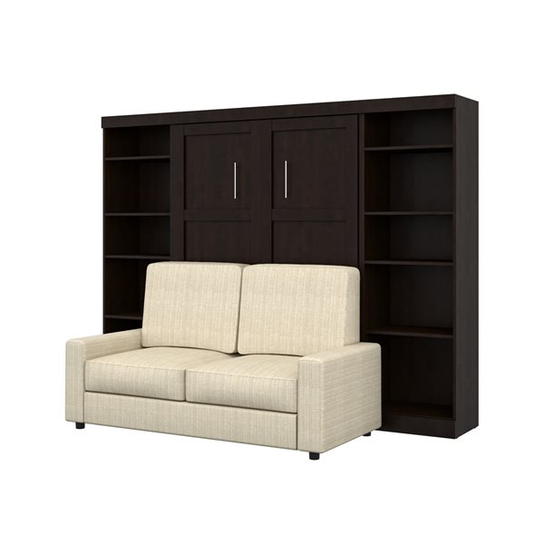Bestar Pur 109-in Chocolate Full Murphy Bed Integrated Storage with Sofa