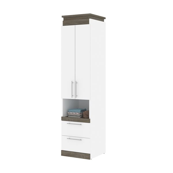 Bestar Orion 20-in Walnut Grey and White Armoire with Pull-out Shelf