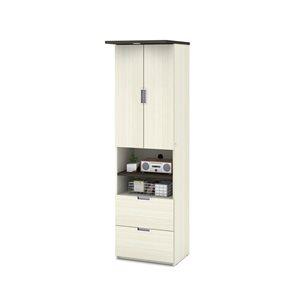 Garde-robe Lumina de 24 po avec 2 tiroirs par Bestar, chocolat blanc