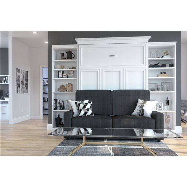 Bestar Versatile 115-in White Queen Murphy Bed Integrated Storage with Sofa