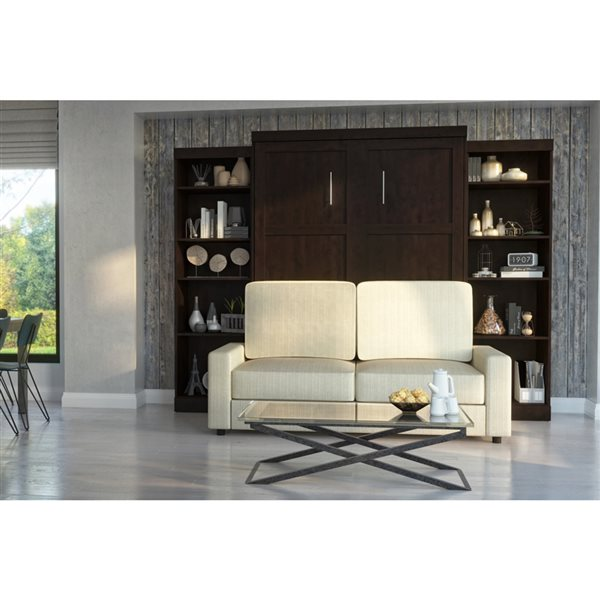 Bestar Pur 115-in Chocolate Queen Murphy Bed Integrated Storage and Sofa