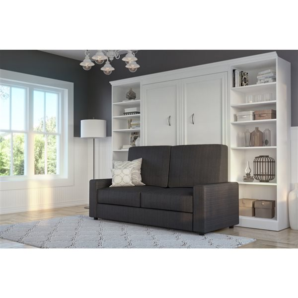 Bestar Versatile 109-in White Full Murphy Bed Integrated Storage with Sofa