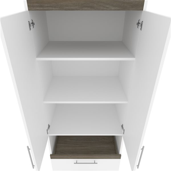 Bestar Orion 30-in White and Walnut Grey Armoire with Pull-out Shelf