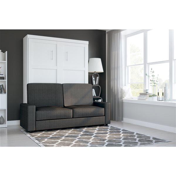 Grand lit escamotable blanc Pur de 78 po par Bestar avec unité de rangement et sofa
