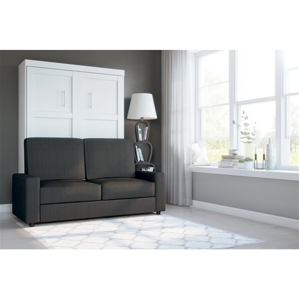Bestar Pur 73-in White Full Murphy Bed with Sofa