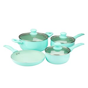 Brentwood Aluminum Blue Non-Stick Cookware Set with Lids - 7-Pieces