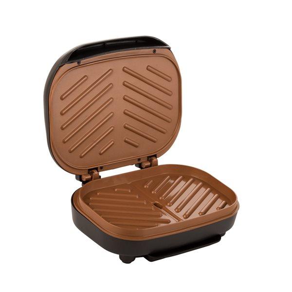 Gril électrique d'intérieur et presse-panini Brentwood antiadhésif de 750 W, 9po L x 8po l, noir