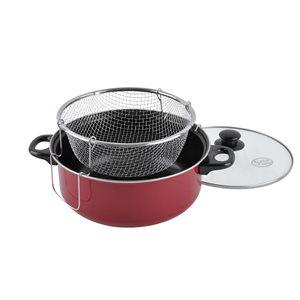 Alpine Cuisine5-qt Aluminum Fry Pot with Lid and Frying Rack