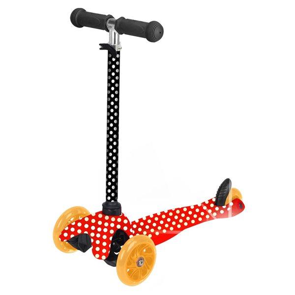 Trottinette pour enfants de Rugged Racers rouge à 3 roues avec motif à pois et lumières à DEL