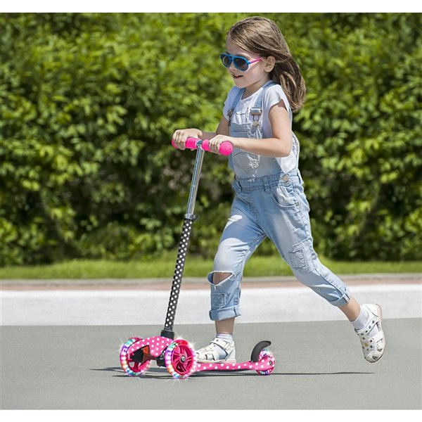 Rugged Racers 3-Wheel Pink Polka Dots with LED Lights Kids Scooter