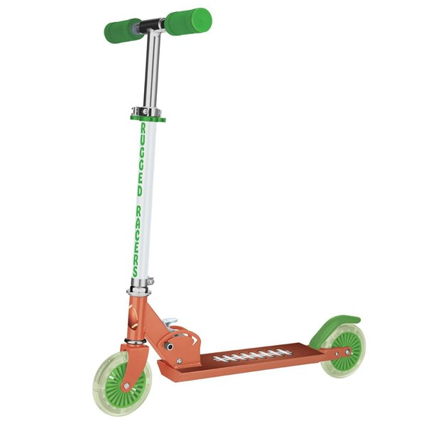 Rugged Racers 2-Wheel Orange and Green Football Design with LED Lights Kids Scooter